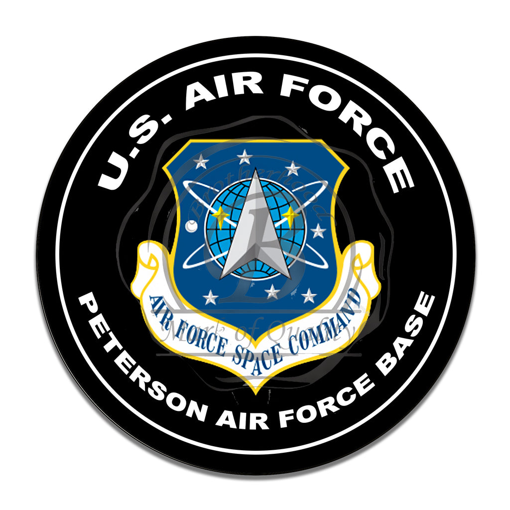 United States Air Force Space Command Peterson Air Force Base Inch Circle Aluminum Sign