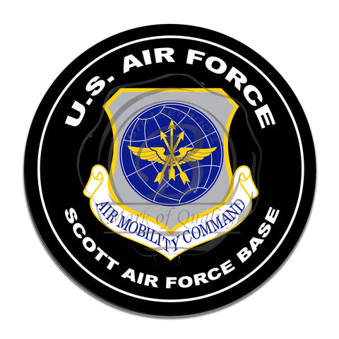 United States Air Force Air Mobility Command 11.75 Inch Circle Aluminum Sign