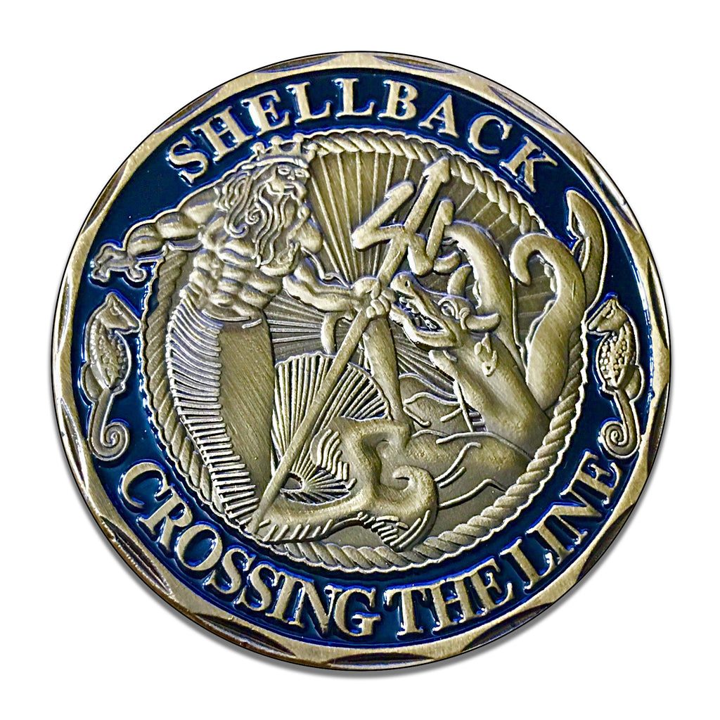 United States Navy Shellback Crossing The Line 11.75 Inch Circle Aluminum Sign