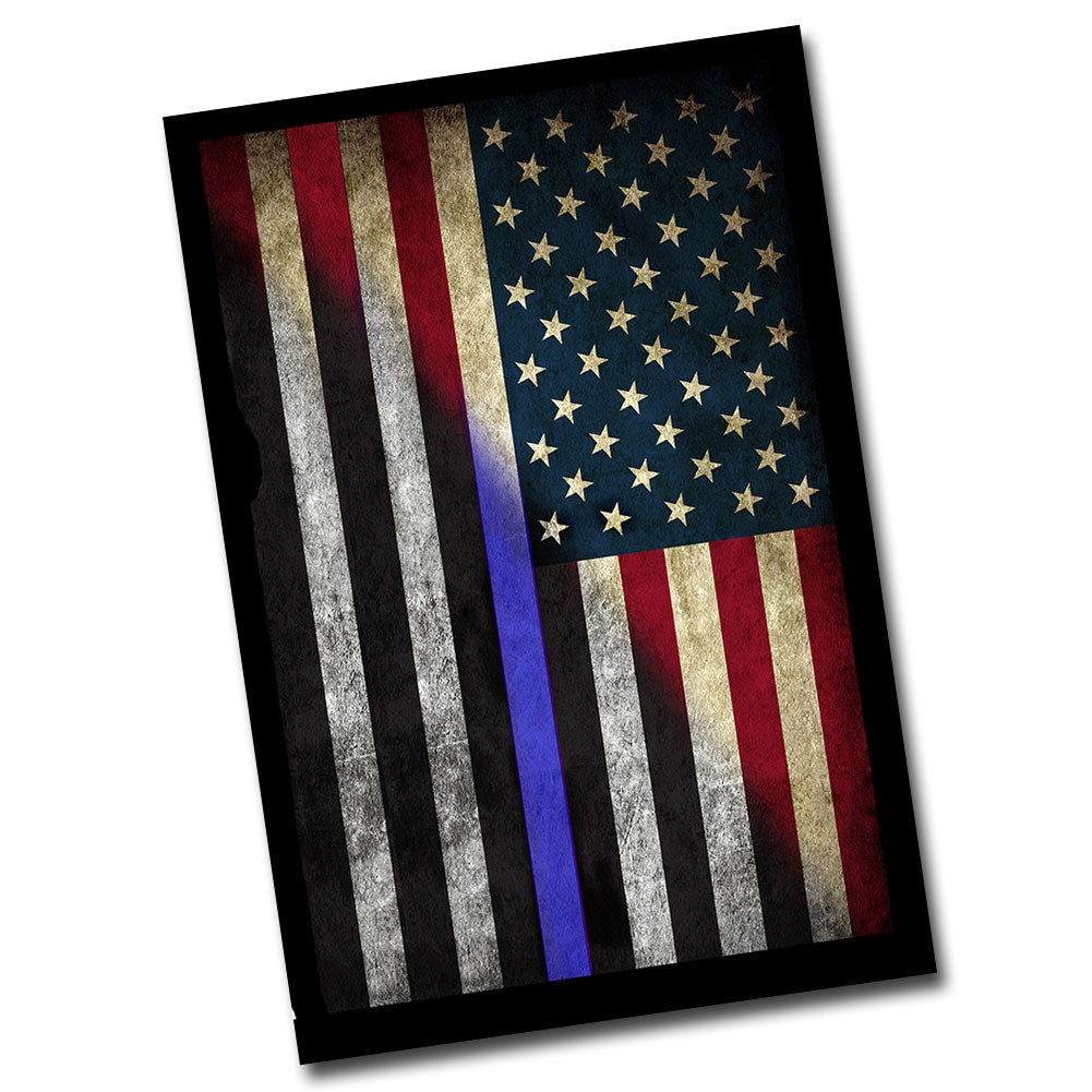 "RW&B  Distressed American Flag With Thin Blue Line Metal Sign 8"" x 12"""