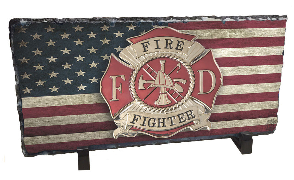 Distressed American Flag Fireman Maltese Cross Slate Rock
