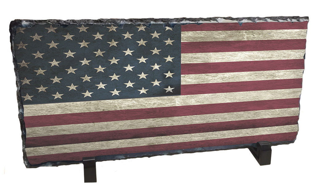 Distressed American Flag Photo Slate Rock