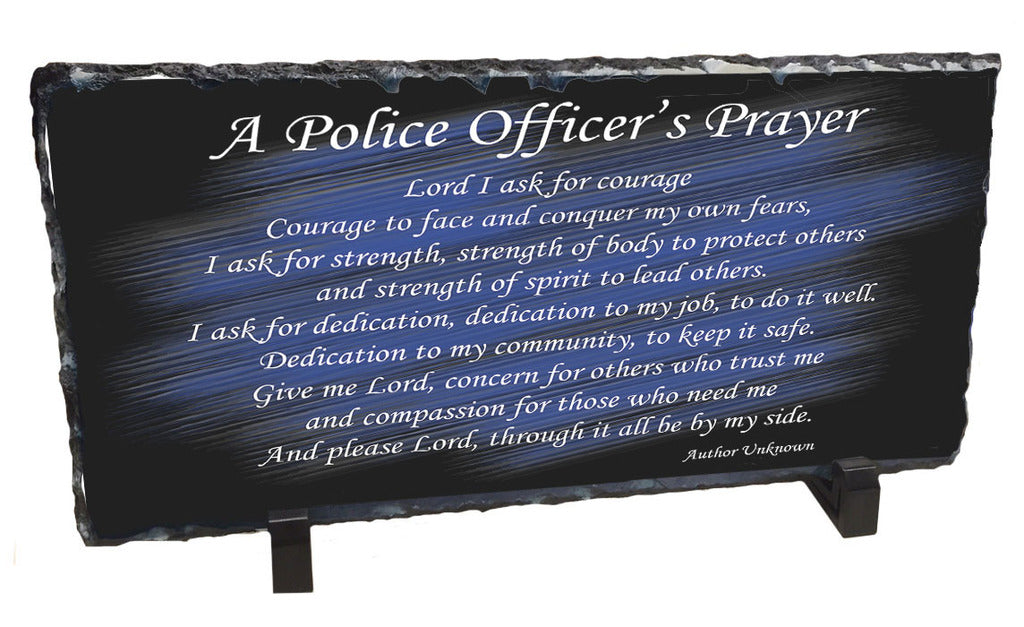 A Police Officer's Prayer Slate Photo Rock