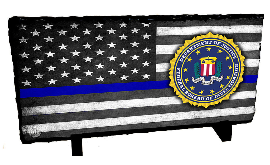Thin Blue Line Subdued American Flag FBI Seal Slate Photo Rock