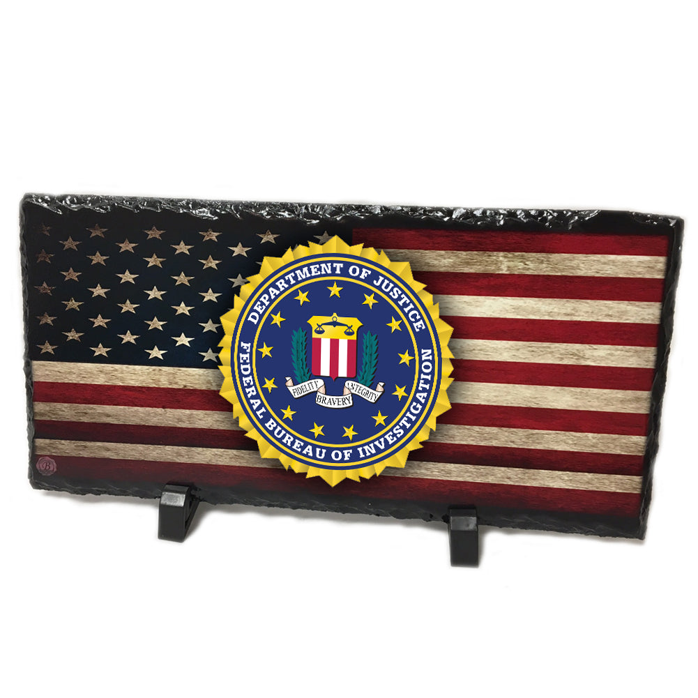Distressed  American Flag FBI Seal Slate Photo Rock