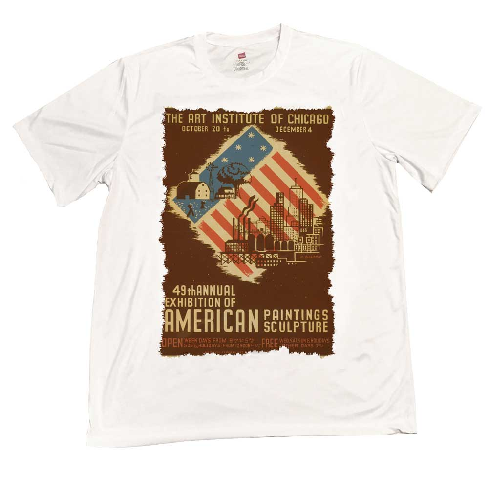 Vintage Art Institute Of Chicago Americana Exhibition Rapid Dry T-Shirt