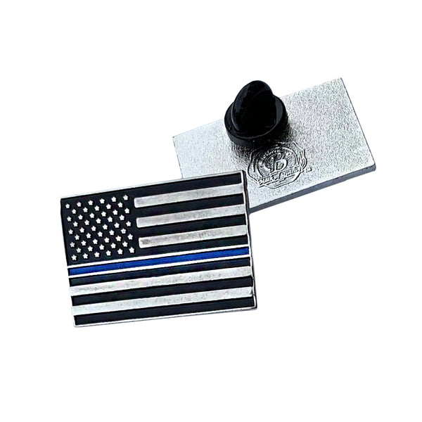Thin Blue Line Police Sheriff Law Enforcement American Flag Lapel Pin