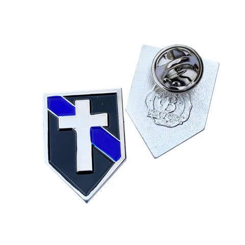 Thin Blue Line Police Chaplains Christian Cross Lapel Pin