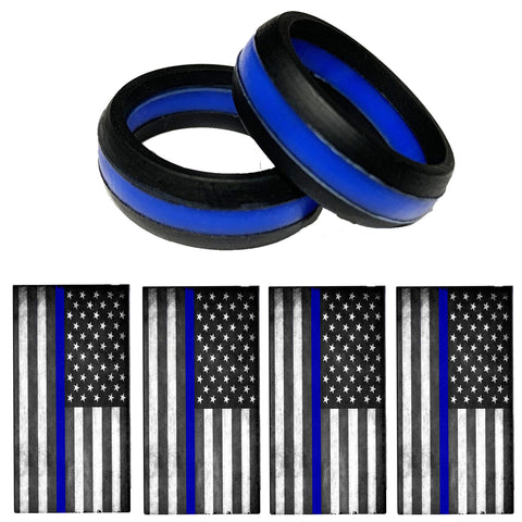 Silicone Thin Blue Line Ring For Men Or Women