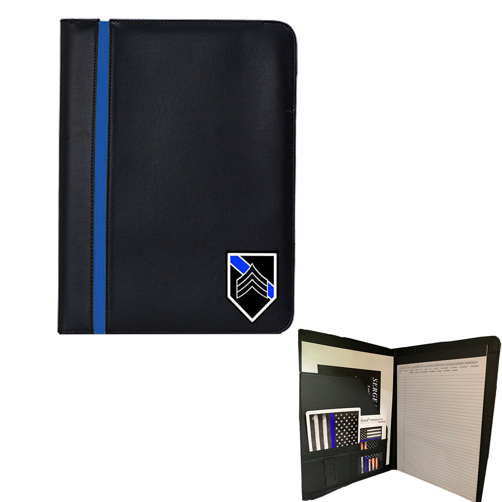 Thin Blue Line Sergeant Police Officer Padfolio Memo Pad Holder Bundle