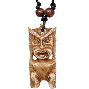 Brown Tribal Tiki Totem Nylon Necklace