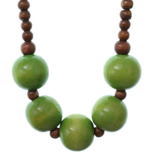 Green Wooden Beaded Stretch Necklace Set