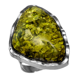 Green Side Triangle Large Stone Adjustable Ring
