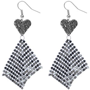 Hematite Heart Mesh Dangle Earrings