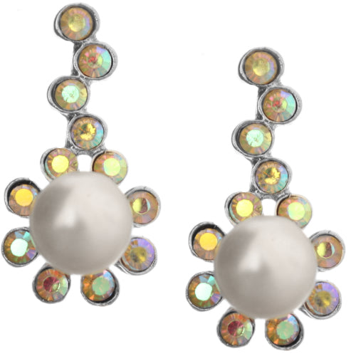 Iridescent Pearl Gemstone Accent Post Earrings