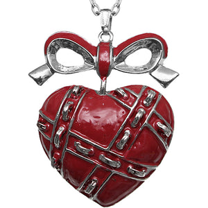 Red Heart Bow Charm Necklace