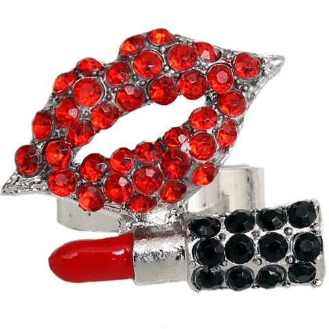 Red Steampunk Lipstick Bullet Adjustable Ring