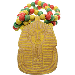 Yellow Wooden Beaded King Tut Mask Necklace