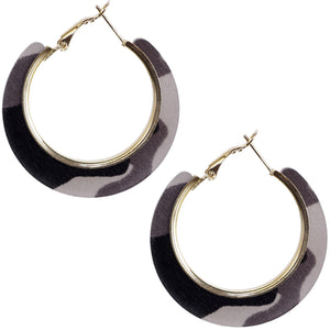 Black Acrylic Camo Mini Hoop Earrings