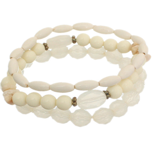 Beige 3-Piece Beaded Stretch Bracelets