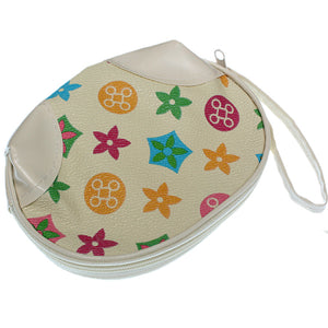 Beige Multicolor Faux Leather Wristlet Coin Purse