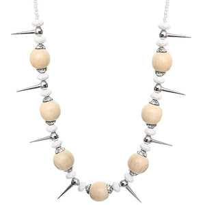 Beige Wooden Sequin Spike Necklace Set