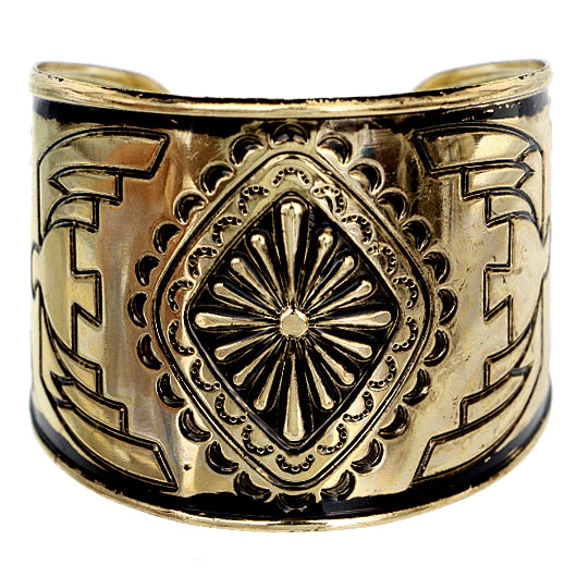 Black Double-Sided Art Deco Metal Cuff Bracelet