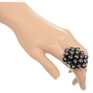 Black Beaded Iridescent Adjustable Ring