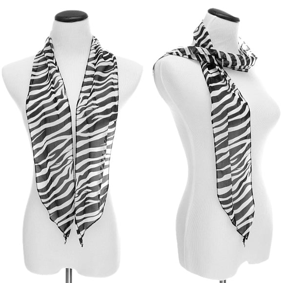 Black Sheer Chiffon Striped Zebra Print Scarf