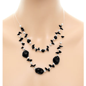 Black Beaded Illusion Invisible Necklace Set