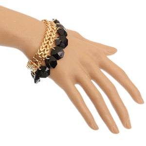 Black Hanging Beaded Chain Bracelet