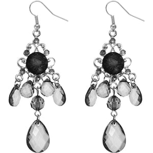 Black Elegant Beaded Chandelier Dangle Earrings