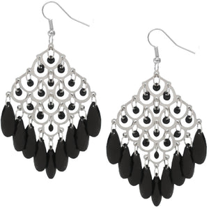 Black Dangle Bead Chandelier Earrings