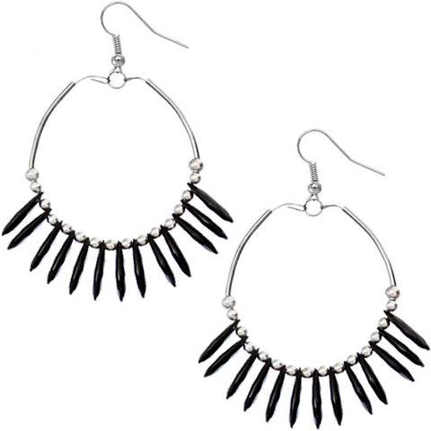Black Beaded Disc Hoop Earrings