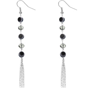 Black Beaded Evil Eye Chain Earrings