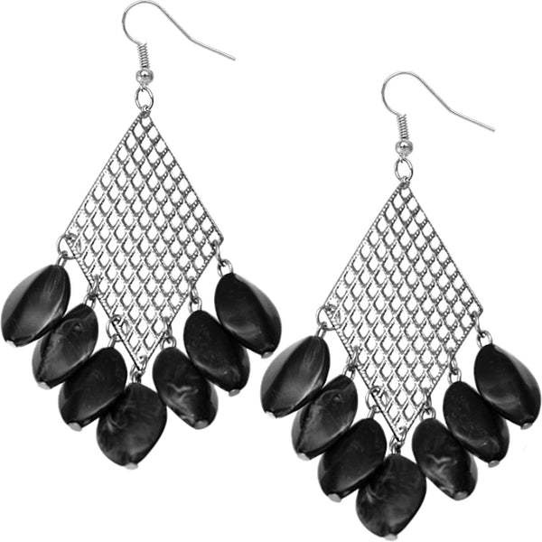 Black Metal Bead Cutout Dangle Earrings