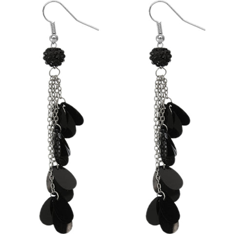 Black Beaded Fireball Confetti Chain Earrings