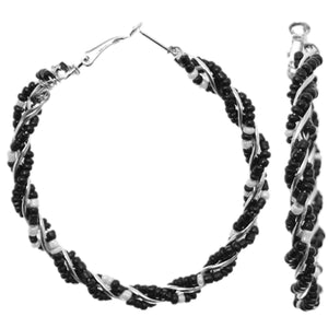 Black Intertwined Beaded Hoop Earrings