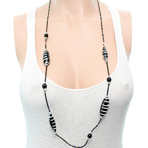 Black White Wooden Sequin Striped Necklace Set