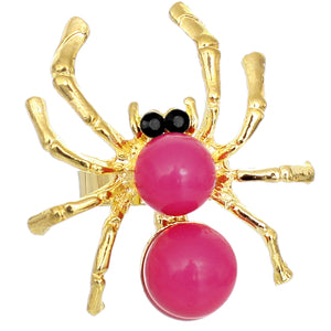 Pink Beaded Spider Adjustable Ring