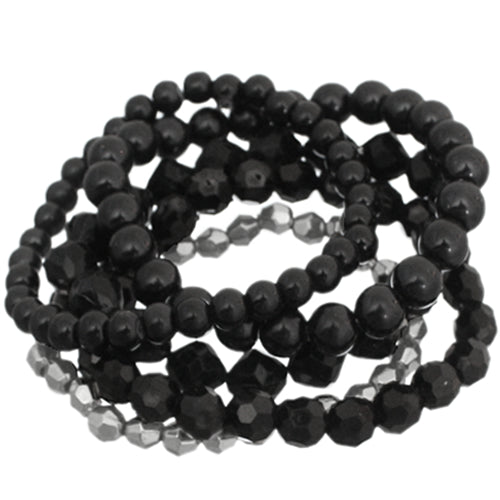 Black 5-Piece Faux Pearl Stacked Bracelets