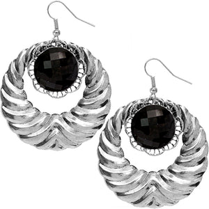 Black Extra Large Gemstone Crescent Earrings