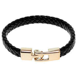Black Braided Woven Leather Latch Bracelet