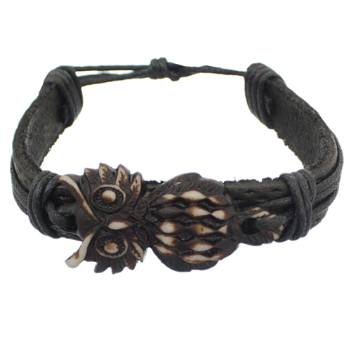 Black Brown Faux Leather Hoot Owl String Bracelet