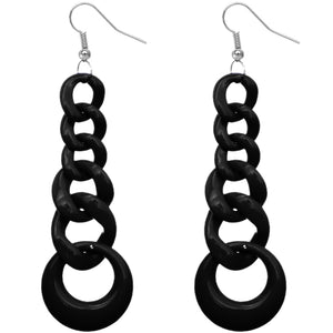 Black Gradual Chain Link Earrings