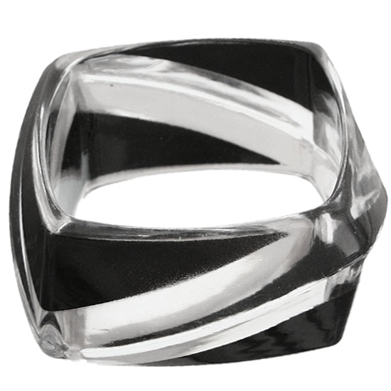 Black Clear Striped Square Bangle Bracelet