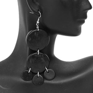 Black Coconut Round Disc Earrings