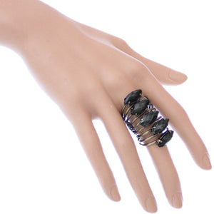 Black Beaded Coil Wrap Ring
