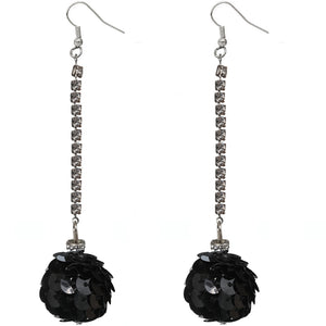 Black Confetti Ball Chain Earrings