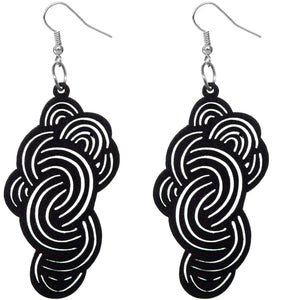 Black Swirly Cloud Wooden Earrings